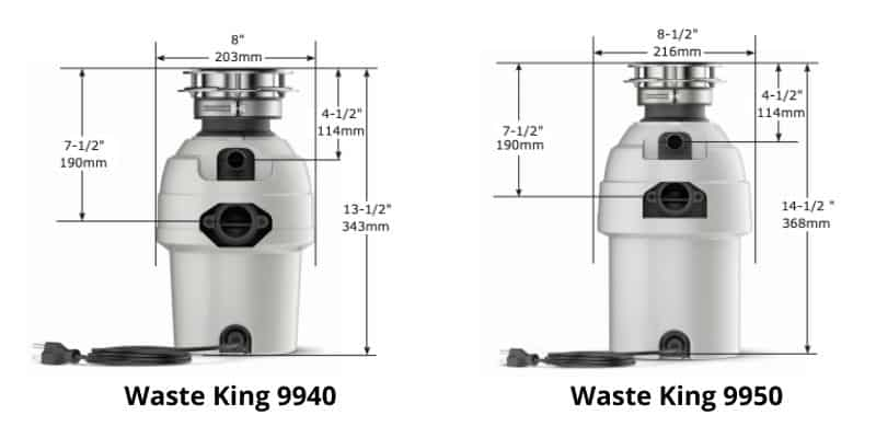 Waste King 9940 vs 9950 dimensions